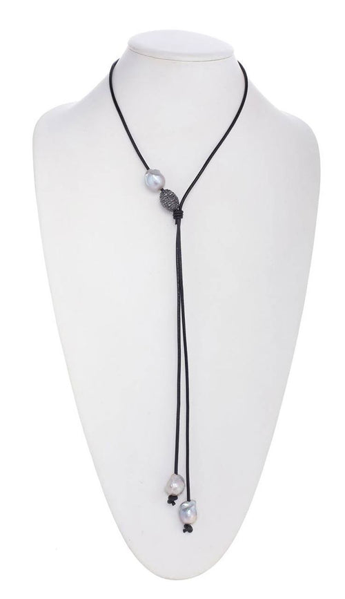 Grey Baroque Pearl Lariat Necklace - Black Leather
