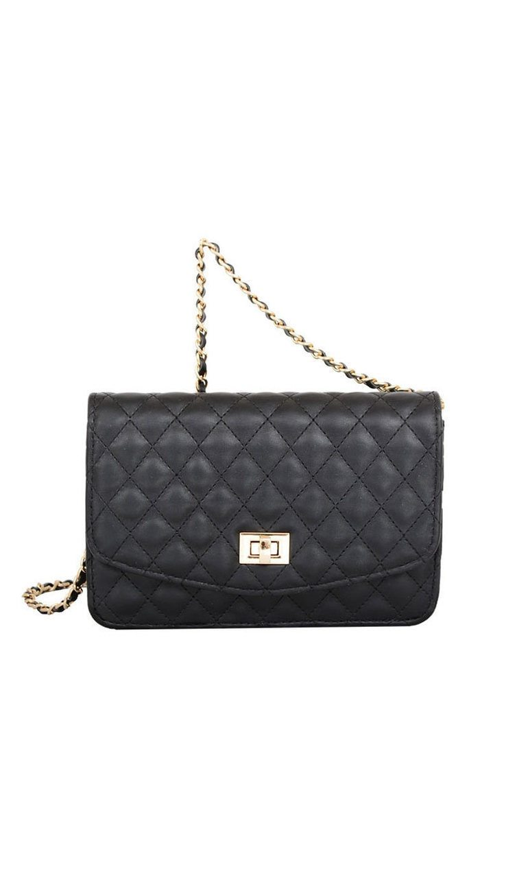 Amanda Quilted Crossbody Bag -Black