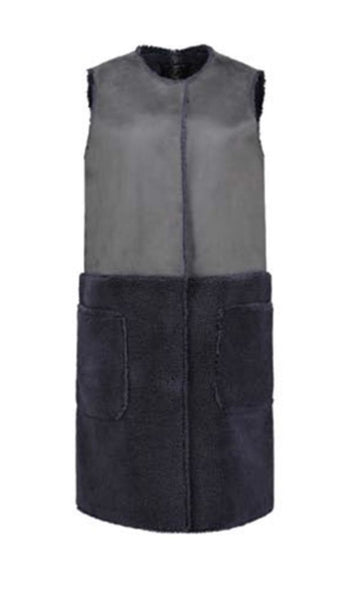 Shearling & Suede Long Sleeveless Vest Coat