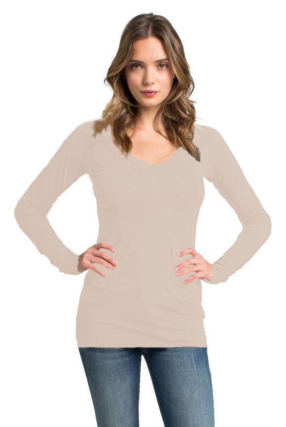 Fitted V Neck Tunic Tee