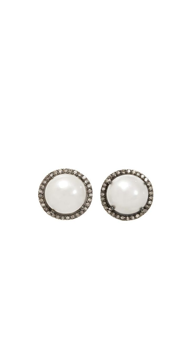 White Pearl & Diamond Stud Earrings