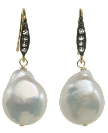 White Baroque Pearl Earrings