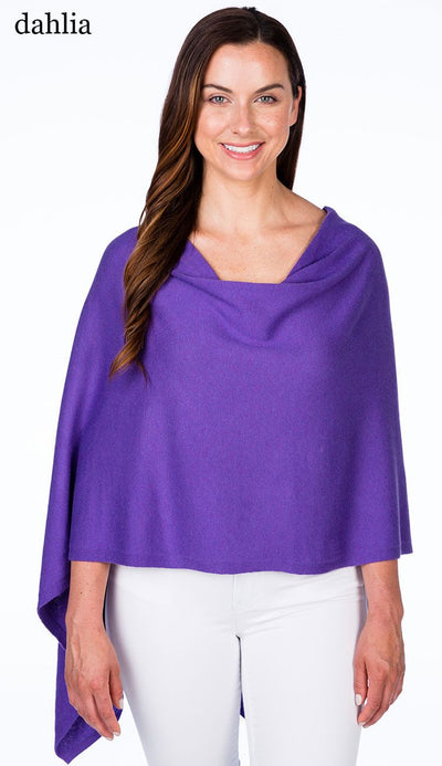 caroline grace cotton cashmere topper in dahlia purple