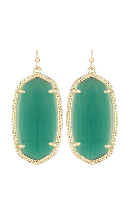 Danielle Earrings in Emerald Cat's Eye by Kendra Scott