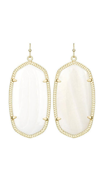 Danielle Earrings in Mother of Pearl Cat's Eye by Kendra Scott