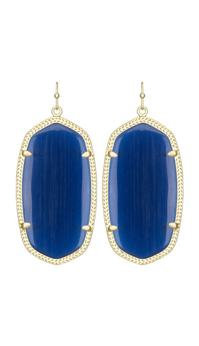 Danielle Earrings in Navy Cat's Eye by Kendra Scott