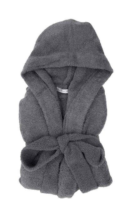 Dolce Hoodie Cover Up Robe in Charcoal Chenille by Little Giraffe folded view