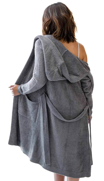 Dolce Hoodie Cover Up Robe in Charcoal Chenille by Little Giraffe back view