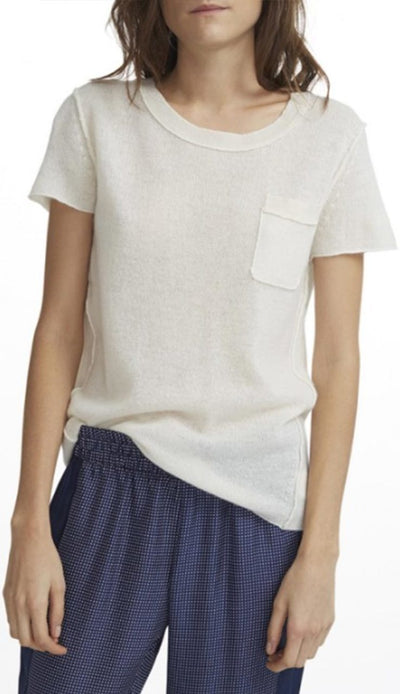 Cashmere Essentail Pocket Tee - Pearl White