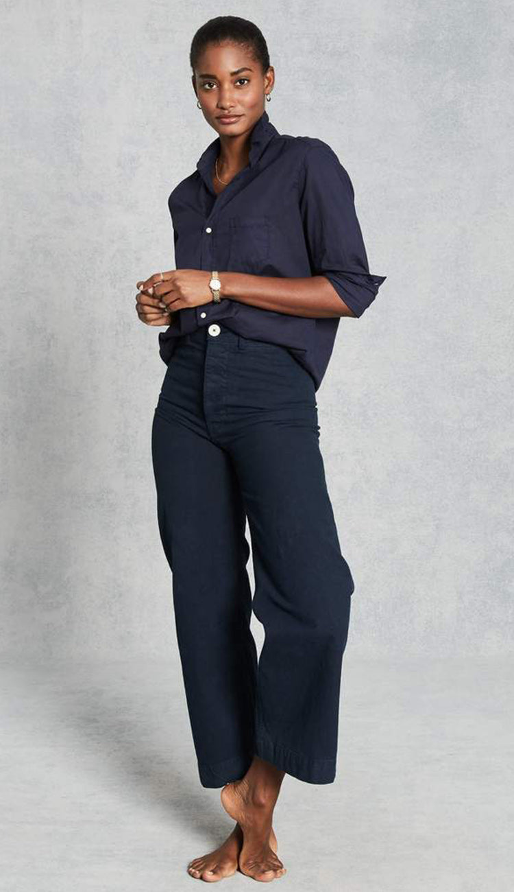 eileen midnight blue light poplin button down shirt by frank and eileen full view