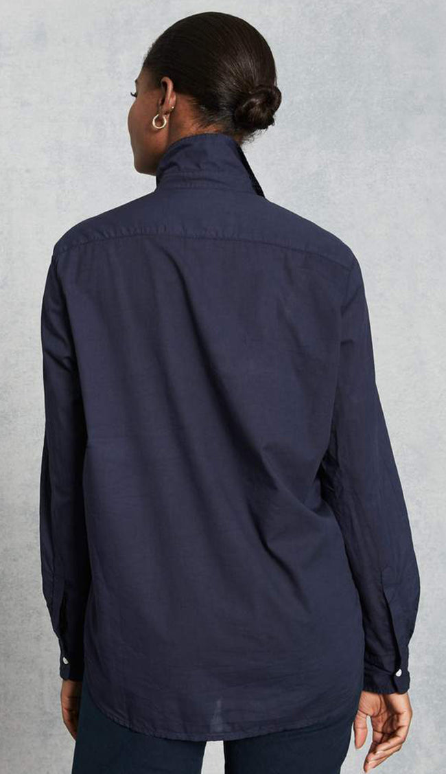 eileen midnight blue light poplin button down shirt by frank and eileen back view