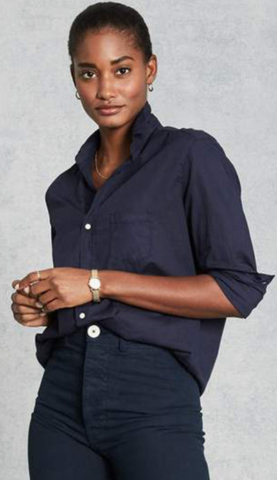 eileen midnight blue light poplin button down shirt by frank and eileen