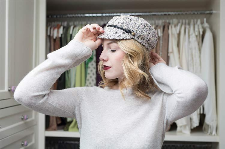 Elyse Tweed Marine Cap in Pink by Eugenia Kim lifestyle view