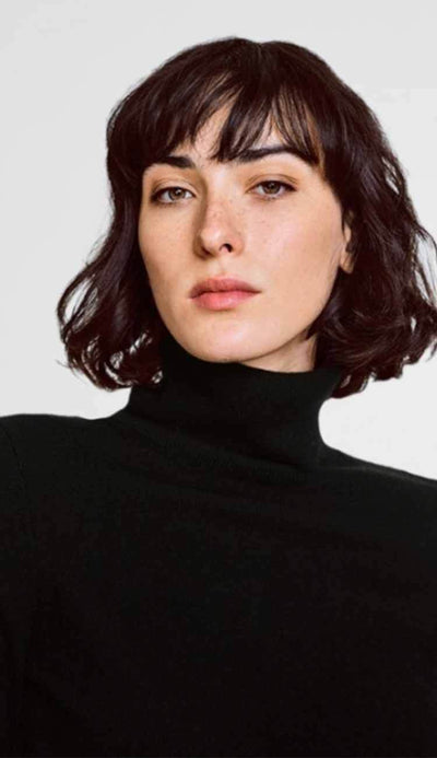 essential turtleneck black cashmere white and warren close view