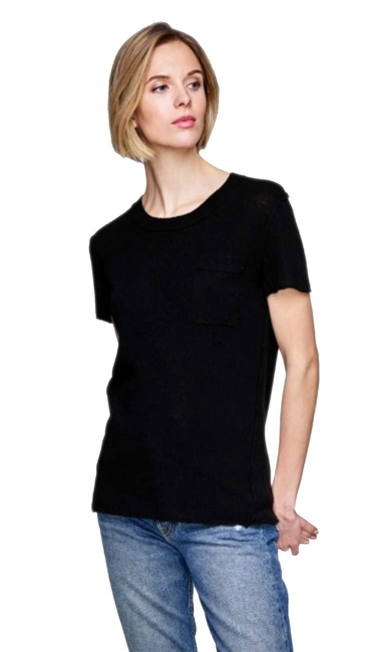 essential cashmere tee in black by white and warren