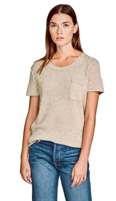 essential cashmere tee in flax by white and warren