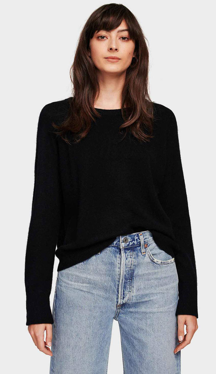 White and warren essential cashmere sweatshirt in black
