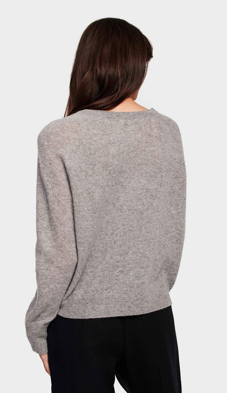white and warren cashmere essential sweatshirt grey heather back view