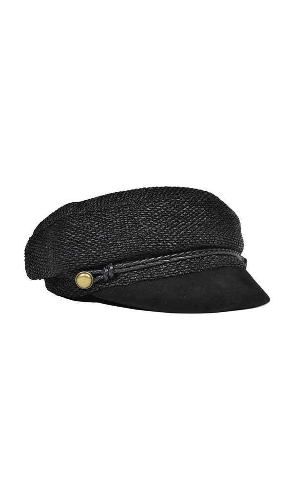 Eugenia Kim Elyse Black Straw Marine Cap side view