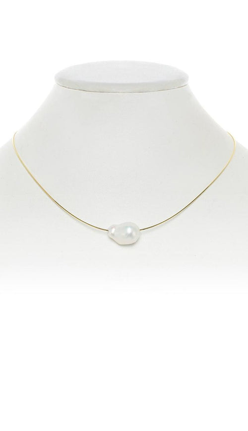 Baroque Pearl Choker Necklace - White  on Gold