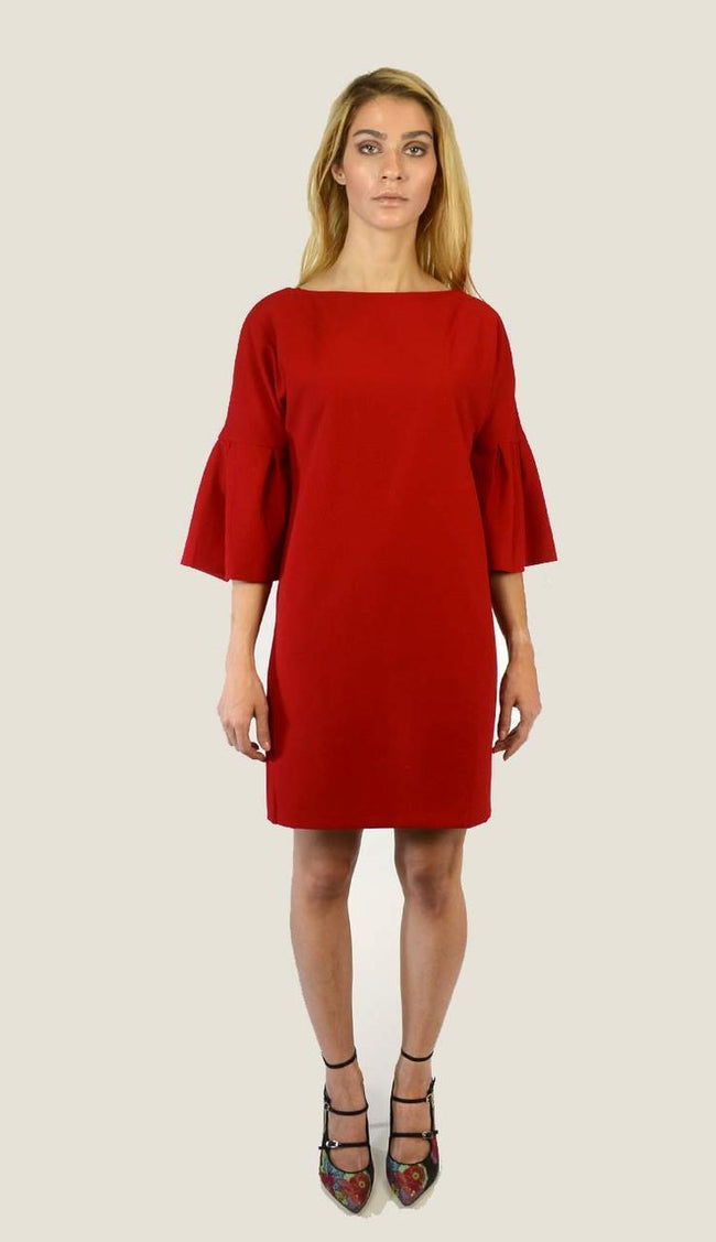 Bell-Sleeve Shift Dress- Venetian Red