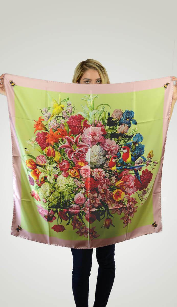 Dream Flowers with Bees on Corners Scarf