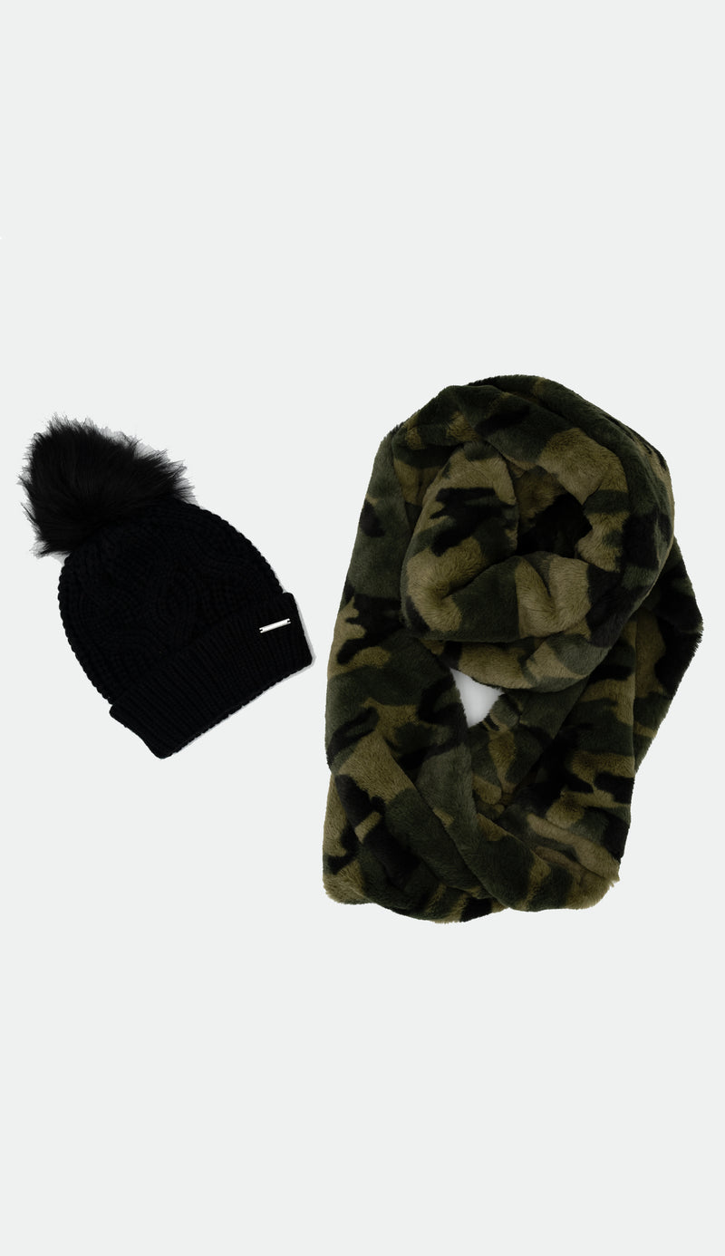 Black knit scarf with faux fur camo infinity scarf
