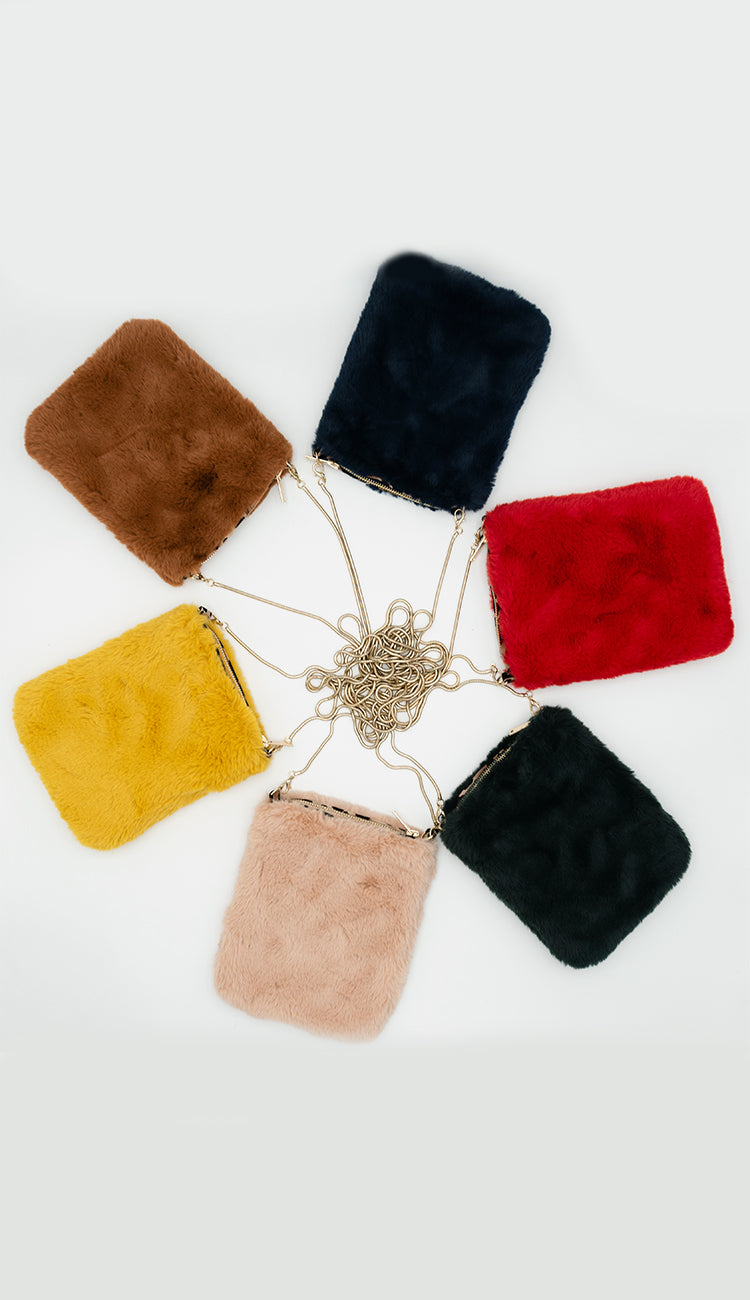 Faux Fur Crossbody Pouch with Chain Strap