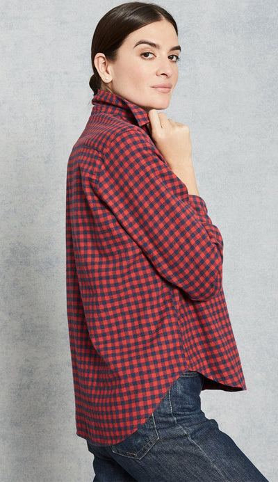 Frank & Eileen Red & Navy Buffalo Check Flannel Shirt Side View