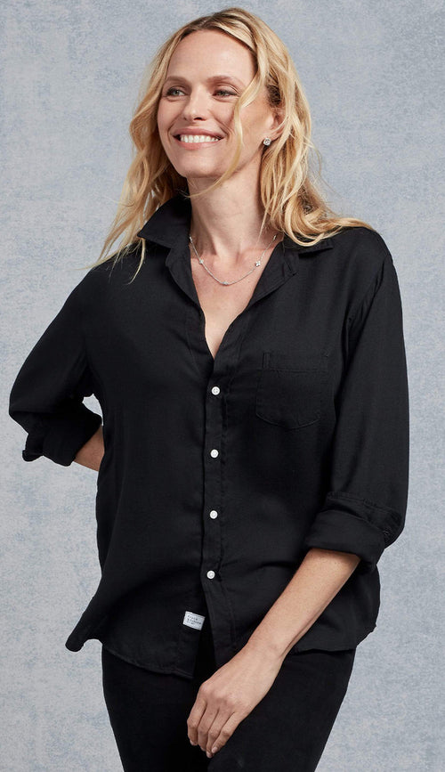 Eileen Fluid Black Modal Button Down Shirt