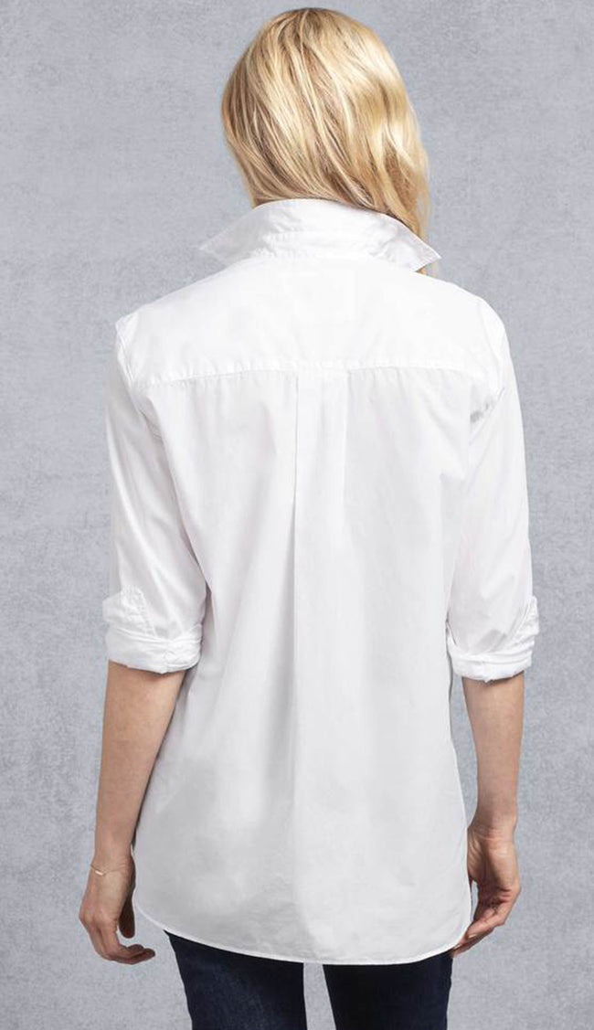 Joedy super fine poplin white button down shirt back view frank and eileen