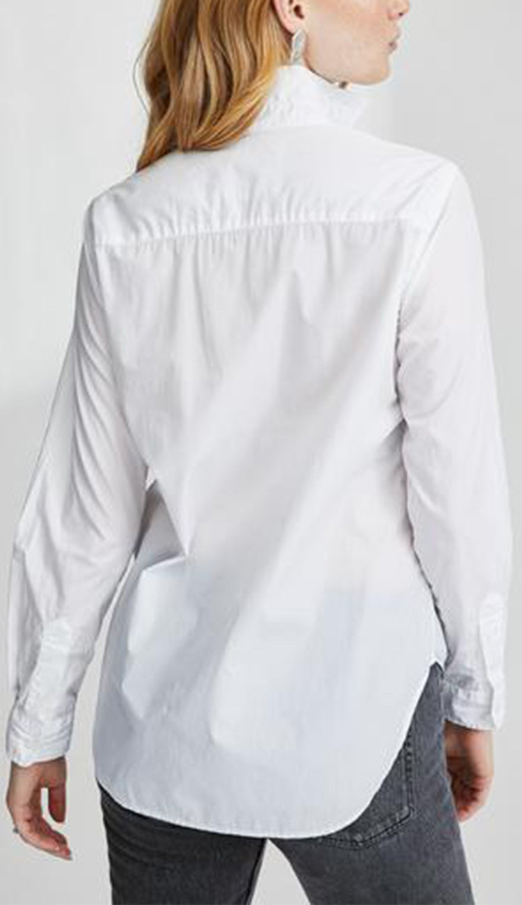 frank italian white poplin white button down by frank and eileen back view