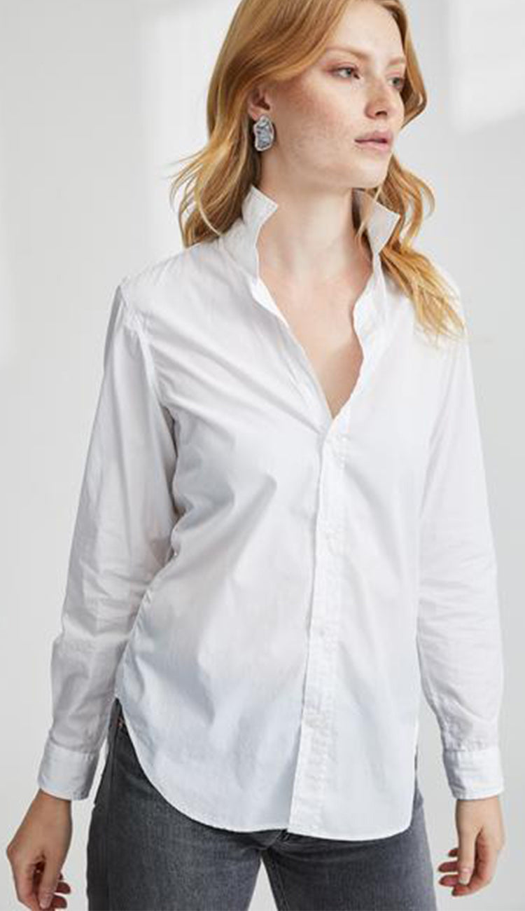 super fine poplin white button down shirt