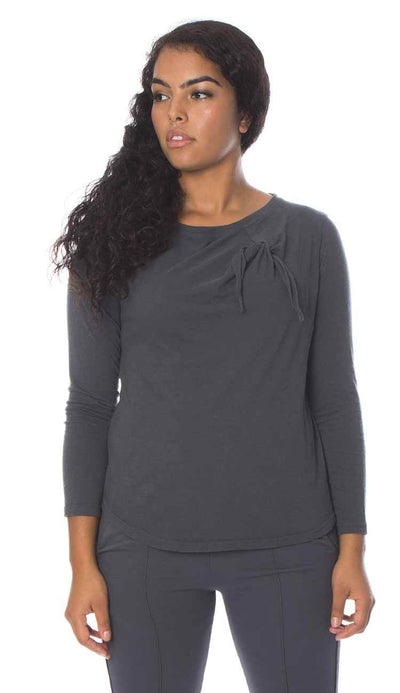 knot long sleeve cotton cashmere shirt in charcoal by garbe luxe