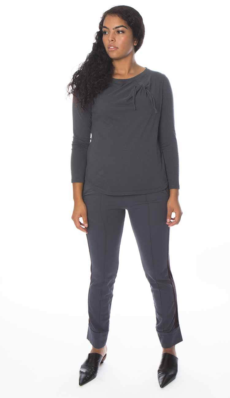 knot long sleeve shirt in charcoal cotton cashmere by garbe luxe full view