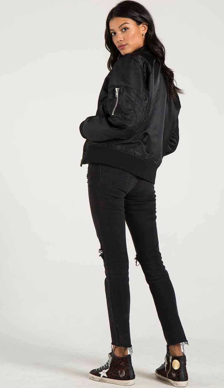 Philantropy Gisellle Fur lined bomber in black view 5