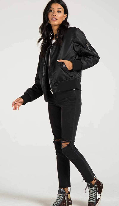 Philantropy Gisellle Fur lined bomber in black view 3