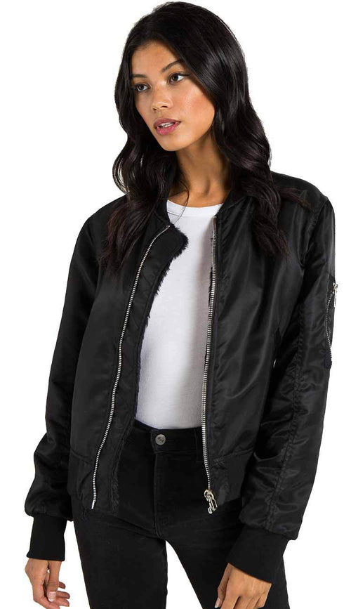 Philantropy Gisellle Fur lined bomber in black