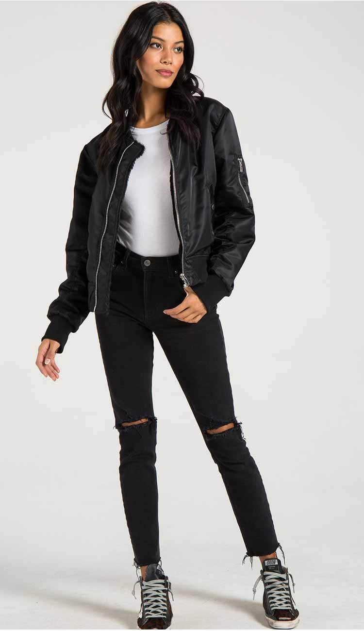 Philantropy Gisellle Fur lined bomber in black view 4