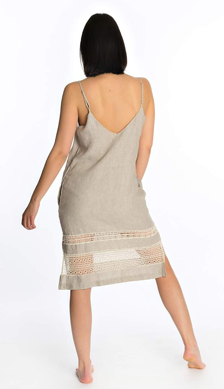 gold hawk capri linen slip dress- back view