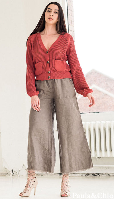 Wide Leg Linen belted pant in taupe by gold hawk