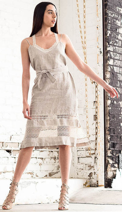 Gold Hawk Capri Linen Dress Front View