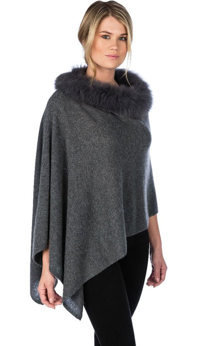 graphite fox trim topper by claudia nichole cashmere