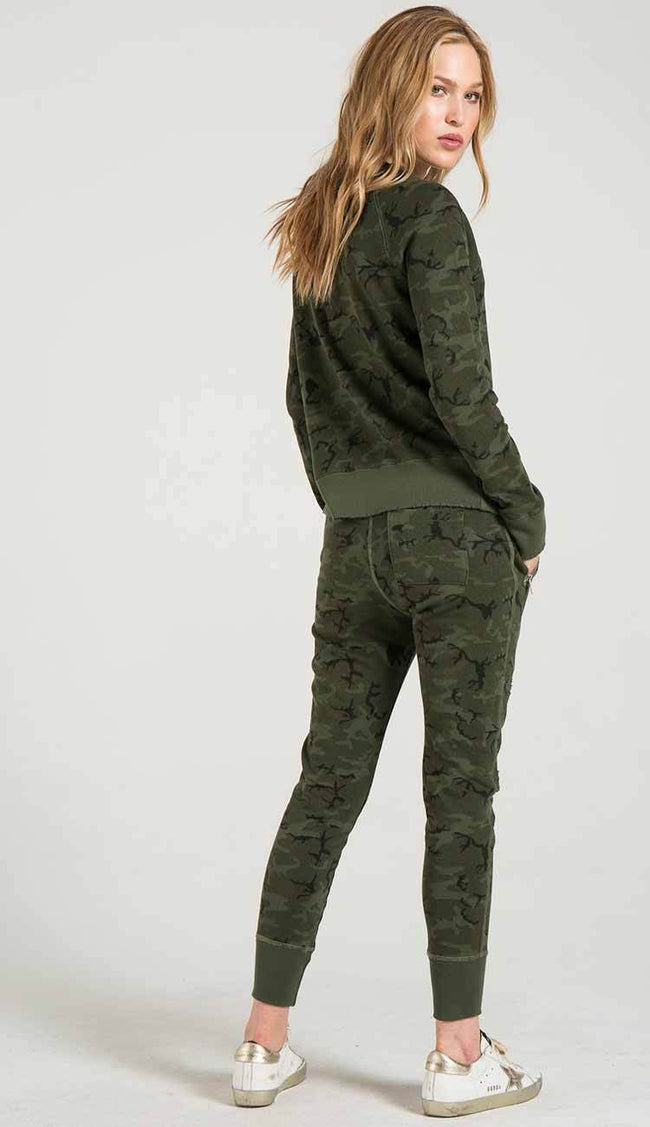 GRAVITY DECONSTRUCTED SWEATPANTS IN CAMOUFLAGE BY PHILANTHROPY BACK VIEW