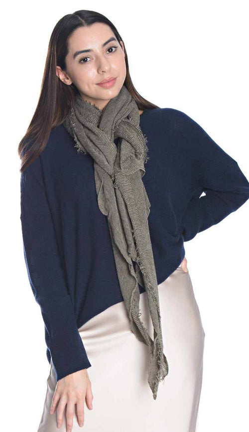 cashmere love scarf by grisal japan in khaki and beige micro strips