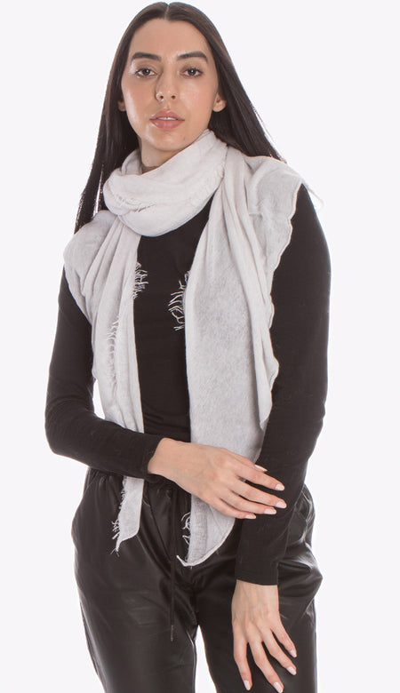 Cashmere Love Scarf - Navy & Heather Grey Micro Stripe