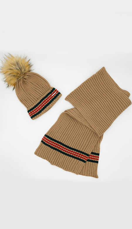 Knit Oversized Scarf & Hat Set  - Honey Yellow