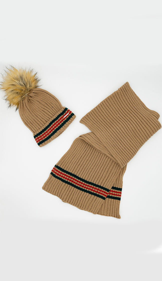 Guccee -esque  Knit Pom Pom Hat - Camel