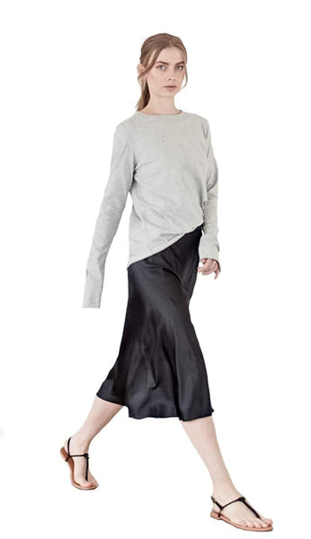 hana silk skirt black - Ahlvar gallery front view