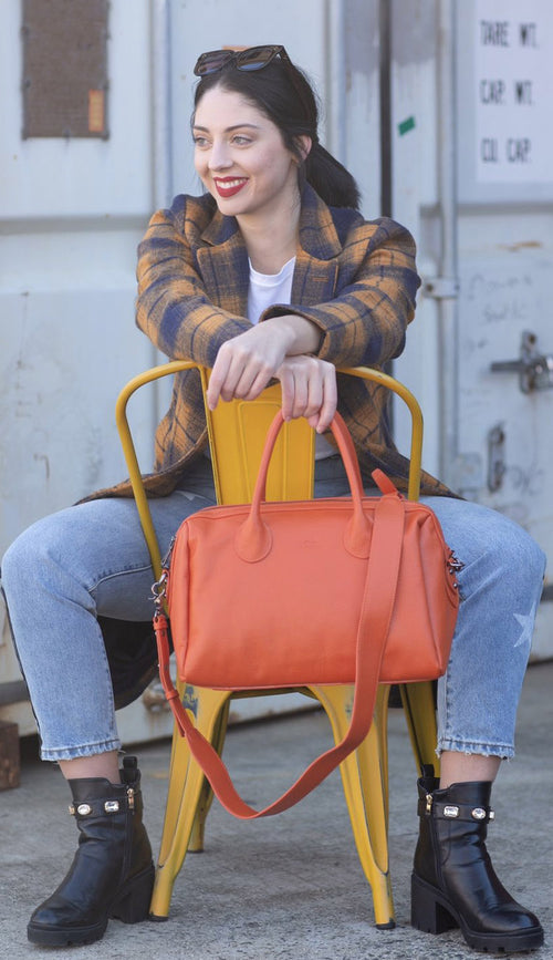 hayes beck satchel in marie orange - Paula & Chlo
